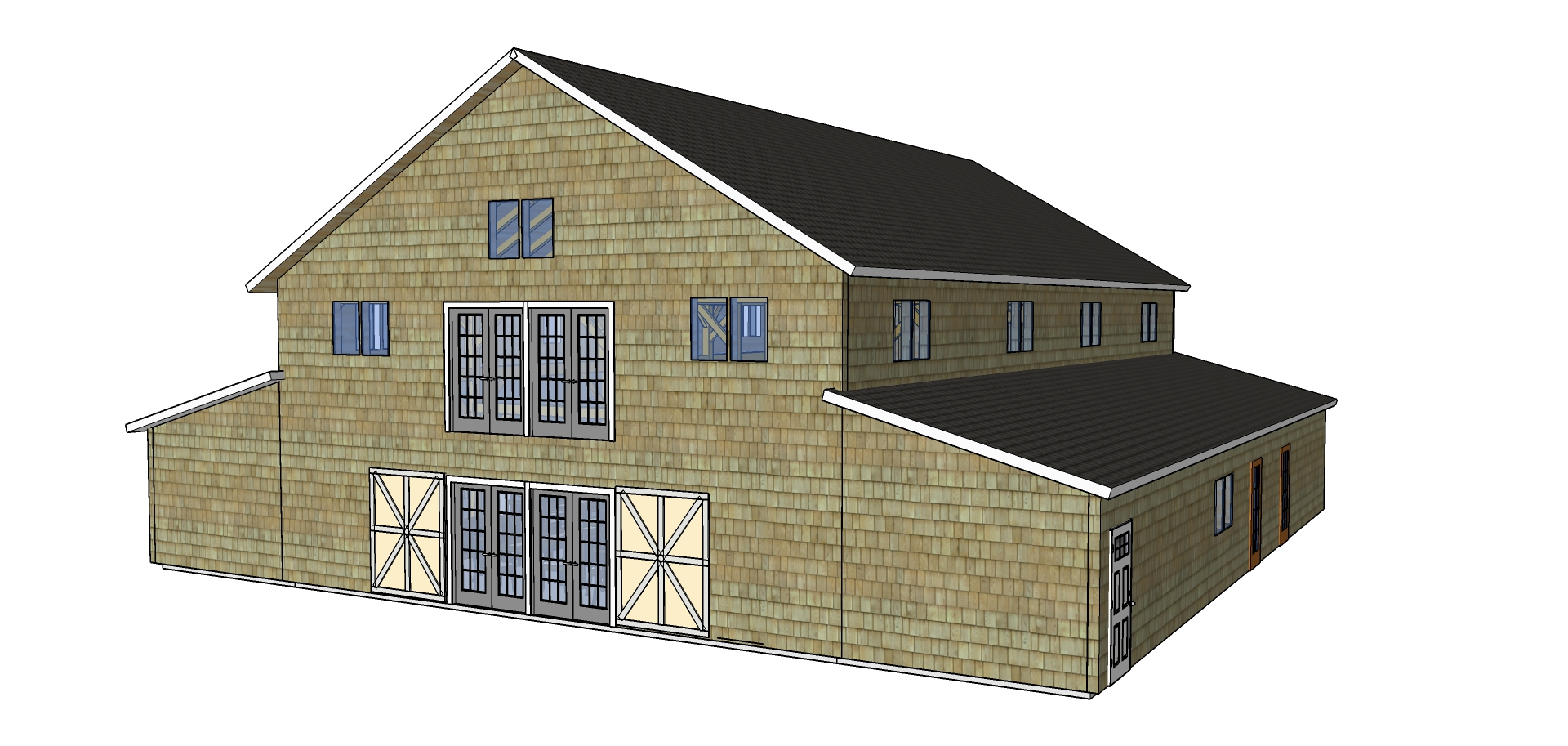 Barn Lights timberframe rendering exterior doors