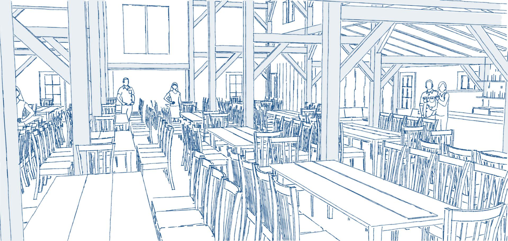 Barn Lights dining area tables pen