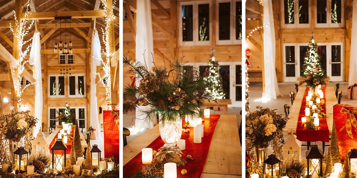Barn Lights Christmas wedding scene