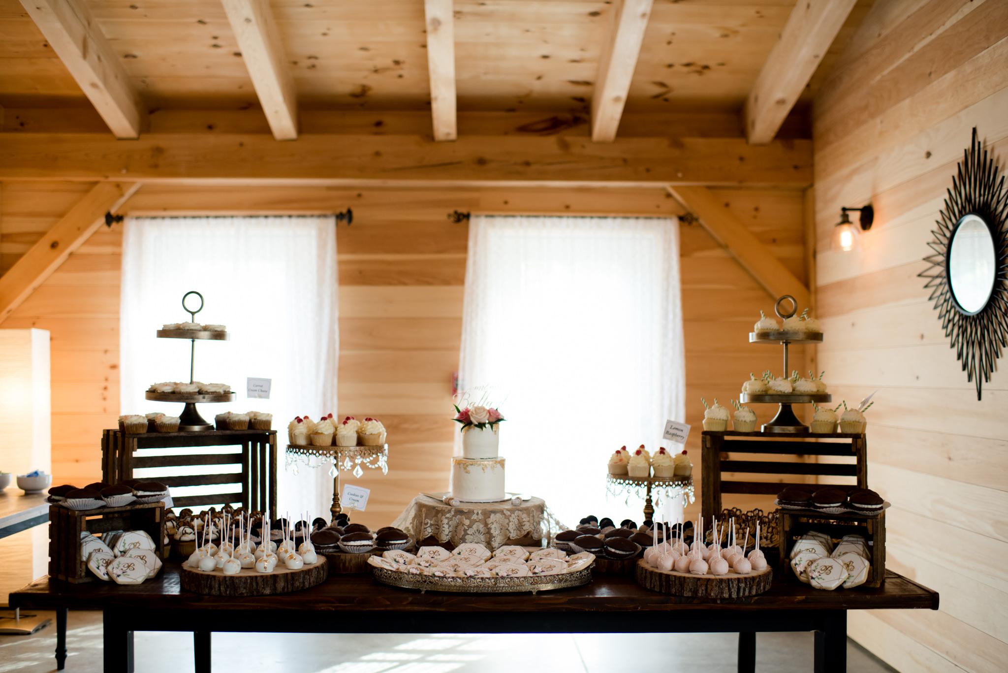 barn lights wedding table with decor